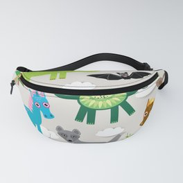 magic pattern with funny dragon bats unicorn horse deer bird wolf. illustration Fanny Pack