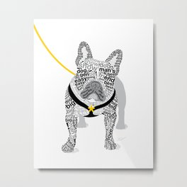 Typographic French Bulldog - Black and White Metal Print