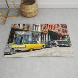 Yellow car in Tribeca, New York Rug