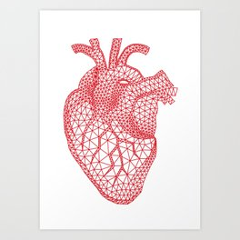 abstract red heart Art Print