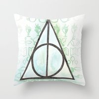 deathly hallows Throw Pillows featuring Deathly Hallows by Carmen McCormick