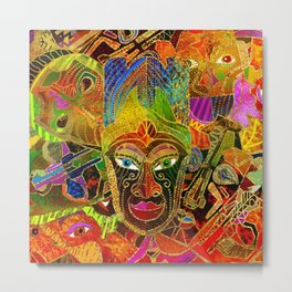 Tribal Mask colorful collage Metal Print