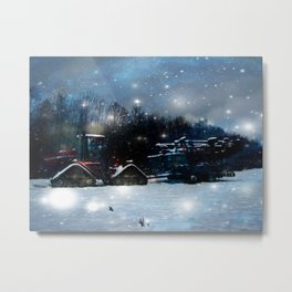 Oh starry tractor! Metal Print