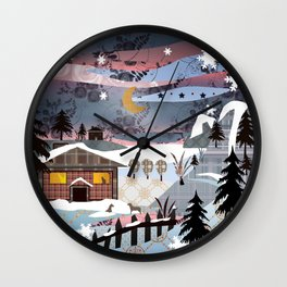 Digital illustration of Winter evening . Quilting. Patchwork . Wall Clock
