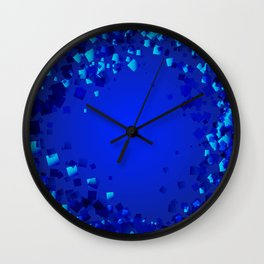 Sea explosive pattern of rhombuses and squares at the depth of the blue ocean. Wall Clock