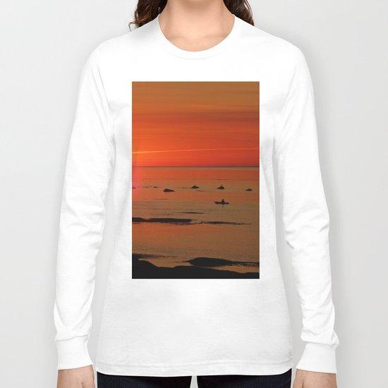 Kayaker and the Setting Sun Long Sleeve T-shirt