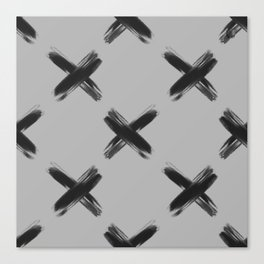 'X' pattern black / light grey Canvas Print