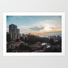 Cityscape of the barrio of El Poblado in Medellín, Colombia Art Print