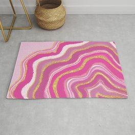 Pink and Gold Geode Agate Rug