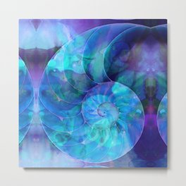 Blue Nautilus Shell - Nature's Perfection by Sharon Cummings Metal Print