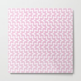 Geometric Sea Urchin Pattern - Light Pink & White #320 Metal Print