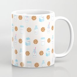 Milk and Cookies Pattern on Cream Coffee Mug