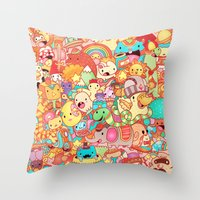 kpop Throw Pillows featuring Wackoblast! by Sillyrabs