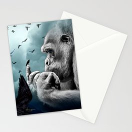 Gorilla discovers crows by GEN Z Stationery Cards