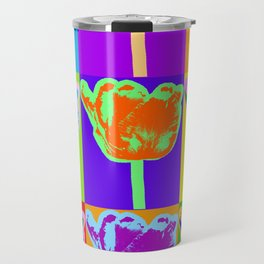 Poster with flower picture in pop art style Travel Mug