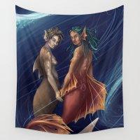 mermaids Wall Tapestries featuring Mermaids by laya rose