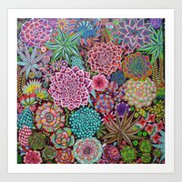 succulents Art Prints featuring Succulents by gwolly