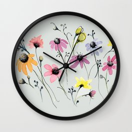Grey floral garden Wall Clock