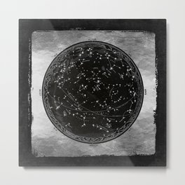 Antique Map of the Night Sky Metal Print