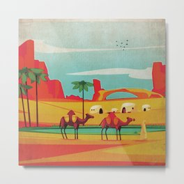 Desert Horizon - Kitschy Mid Century Style Watercolor Print with Camels  Metal Print
