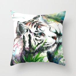 WHITE TIGER WATERCOLOR Throw Pillow