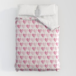 Pink Watercolour Hearts pattern Comforters