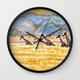 Giraffes in Namibia Wall Clock