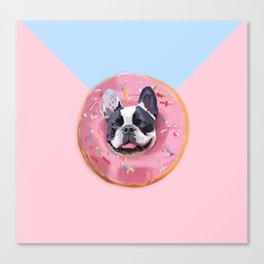French Bulldog Donut Canvas Print