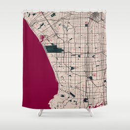 Los Angeles Street Map // Red Theme Shower Curtain