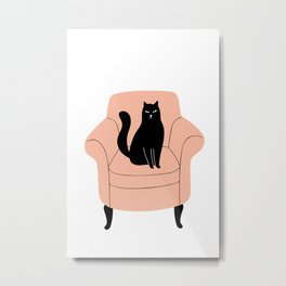 black cat on a chair Metal Print