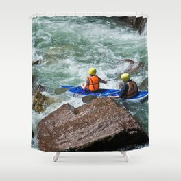 descent on a mountain river kayaking Shower Curtain