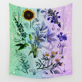 Botanical Study #2, Vintage Botanical Illustration Collage Art Wall Tapestry