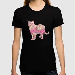 Burmese Cat Vintage Floral Pattern Pink Cream Shabby Chic T-shirt
