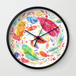 Dream Feathers Wall Clock