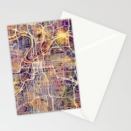 Kansas City Missouri City Map Stationery Cards