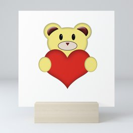 Teddy Bear with love heart Mini Art Print