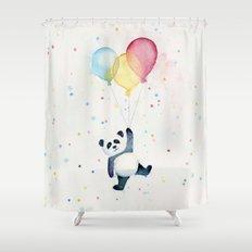 Birthday Panda Balloons Cute Animal Watercolor Shower Curtain