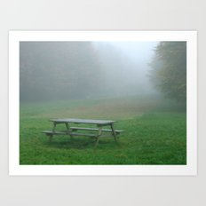 Picnic table in the mist Art Print