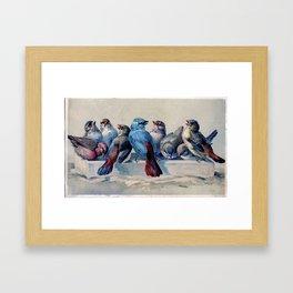 Vintage Blue & Red Winter Songbirds Framed Art Print
