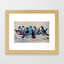 Vintage Blue & Red Winter Songbirds Framed Art Print