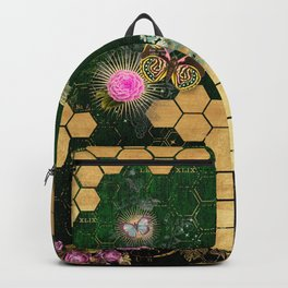French chic, victorian,bee,floral,gold foil, belle epoque,art nouveau, green foil, elegant chic coll Backpack