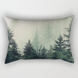 Foggy Pine Trees Rectangular Pillow