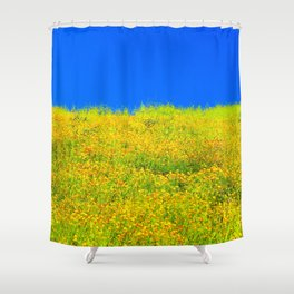 yellow poppy flower field with green leaf and clear blue sky Shower Curtain