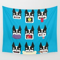 boston terrier Wall Tapestries featuring Boston Terrier - WOOF! by Mamut