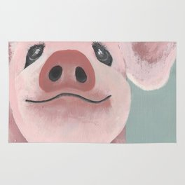 Original Painting - Farm Friends - Baby Pig - Cute Pig Painting Rug