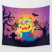 zombies Wall Tapestries featuring Mini Zombies Attack by bimorecreative