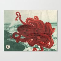 octopus Canvas Prints featuring Octopus Beach by Chase Kunz