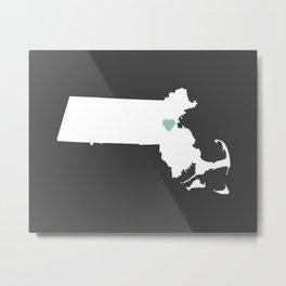 Massachusetts Love in Charcoal Metal Print