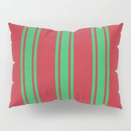 Green lines on a red background Pillow Sham