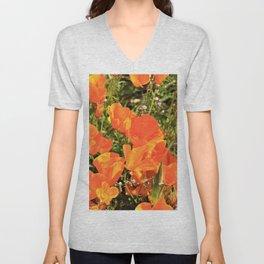 Orange Gold California Poppies by Reay of Light Unisex V-Neck